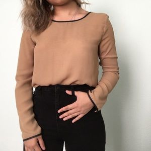 F21 Tan Blouse Faux Leather Piping